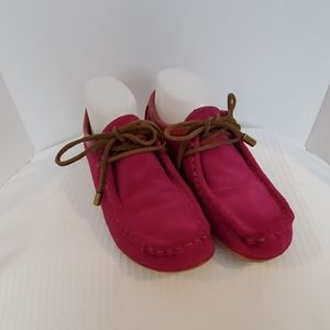 Lucky Brand Hot Pink Suede Lace Up Bootie Shoes